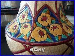 Rare et grand vase toupie Emaux de LONGWY. 1925-1930. Art déco