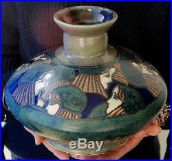 Rare grand vase grès émaillé HB Quimper Odetta art déco décor d'enfants Bigouden