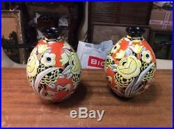 Rare paire de vase keramis ancien art deco hauteur 23.5cm 1926