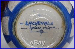 Rare vase boule Art Déco en grès émaillé Raoul Lachenal Pièce unique