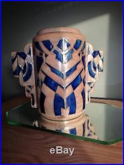 Rare vase cylindrique Art Deco Quimper signé René Olichon (1912 1969)