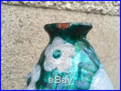 Rare vase design signé CAMILLE FAURE LIMOGES enamel fleurs stylisé art deco