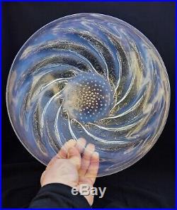 René Lalique Coupe Plate POISSONS N°1 Verre Opalescent Moulé-Pressé ArtDéco vase