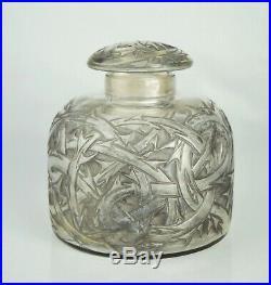 René Lalique Gros Flacon n°1 Épines Verre Patiné vase Art Déco 1920 Signé