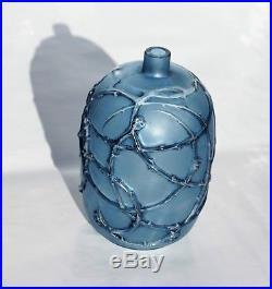 René Lalique Rare Vase Églantines Verre soufflé Moulé Patiné Bleu Art Déco