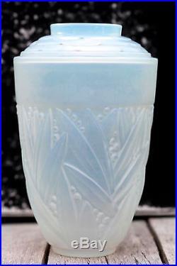 SABINO Rare vase verre satiné muguet signé 15,5cm Art Déco Art glass vase