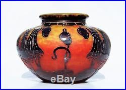 SCHNEIDER LE VERRE FRANÇAIS Gros Vase CAMPANULES Pâte de Verre Gravé Art Déco
