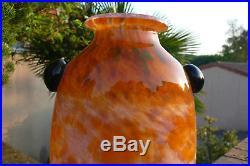 SCHNEIDER Magnifique grand vase balustre sur piédouche 36.5cm ART DECO