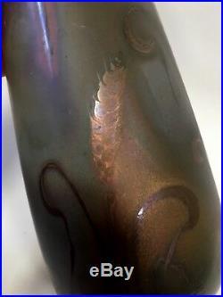 SUPERBE VASE MONTIERES céramique irisée émaillé amiens art déco nouveau papillon