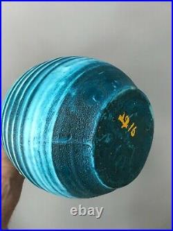 SUPERBE Vase ACCOLAY forme libre turquoise art déco vintage