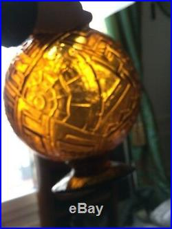 Sabino Paris Circa 1930 Gros Vase Boule Art Deco Pied Douche Pate Verre France