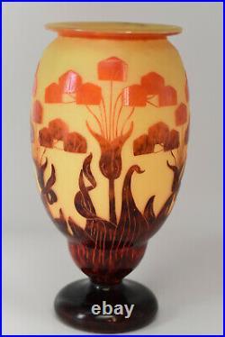 SchneiderLe Verre Français- Grand vase décor YuccaVerre multicouches1925/27