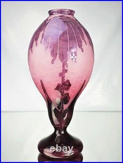 Schneider Grand Vase Le Verre Français Dahlias Pâte de Verre Gravé Art Déco
