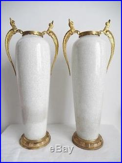 Sèvres, grande paire de vases craquelé, monture bronze, art déco