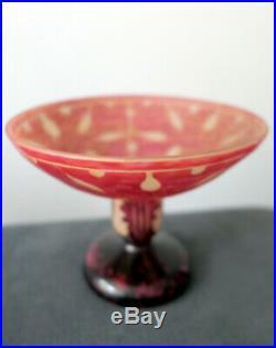 Signée Le Verre Français Schneider Coupe Vase Modèle Amarantes Art Deco 1930