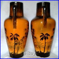 Splendide Paire De Vase Art Deco En Faience Saint Jean Du Desert 1930