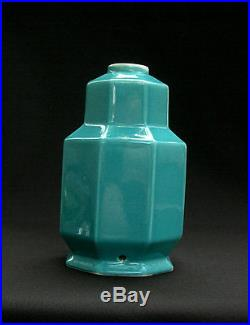Superbe Pied De Lampe Epoque Art Deco Formant Vase A Pans & Gradins, Turquoise