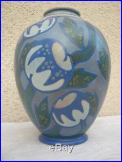 Superbe Vase Art Deco Gres De Revernay Digoin Sarreguemines Emaux Mats 1930