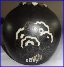 Superbe Vase Boule Gres Eamille Art Deco Jean Luce