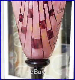 Superbe Vase Coupe Colliers Pate De Verre Art Deco Schneider Le Verre Francais