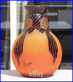 Superbe Vase Draperies Pate De Verre Art Deco Schneider Le Verre Francais 1930