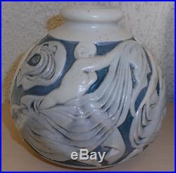 Superbe Vase Mougin Nancy Geo Conde Femmes Nues Naiades Danse Bicolore Art Deco