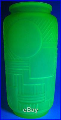 Superbe Vase Versailles RARE 1920 LEGRAS Ouraline uranium Vaseline Art Déco 26cm
