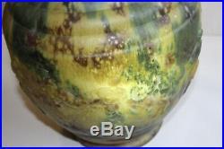 Superbe et grand vase en verre pressé moulé Art déco, gladiateurs, H 32 cm