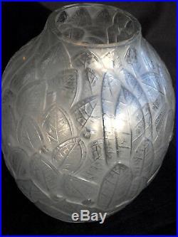 Superbe et rare vase art-deco Hunebelle feuilles, era daum lalique mull