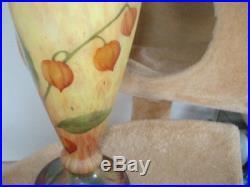 Superbe grand vase Daum signé Mado aux physalis éra Gallé Muller ART DECO 1930