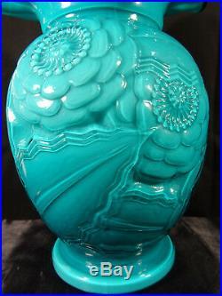 Superbe grand vase d'époque art déco verre doublé P. D'avesn pavots