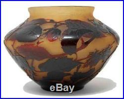 Superbe gros vase art-deco aux 3 fruits SAINT-LOUIS d'argental, era daum galle