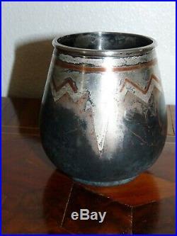 Superbe rare vase en dinanderie d'époque Art-Déco Luc Lanel pour Christofle