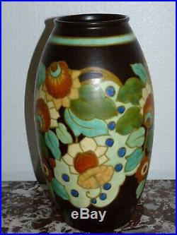 Superbe très rare vase CHARLES CATTEAU BOCH FRERES Décor 1845 ART DECO KERAMIS