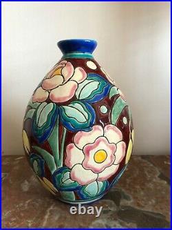 Superbe vase Art Déco Keramis Charles Catteau céramique craquelée