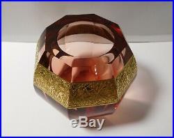 Superbe vase Art Déco cristal et or signé MOSER