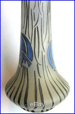 Superbe vase Art Déco pâte de verre de LEUNE, verre émaillé Fritillaires bleus
