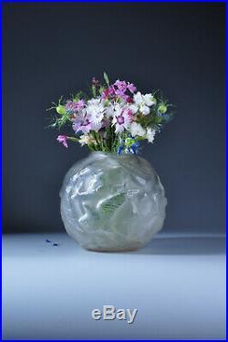 Superbe vase Hirondelles 1930 Degué Art Déco glass birds vase Lalique