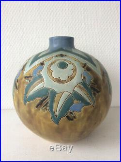 Superbe vase art déco BOCH Frères La Louvière par Charles CATTEAU grès KERAMIS