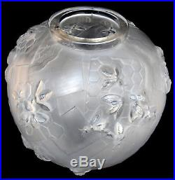 Superbe vase art-deco SABINO abeilles, parfait, era daum lalique galle Muller