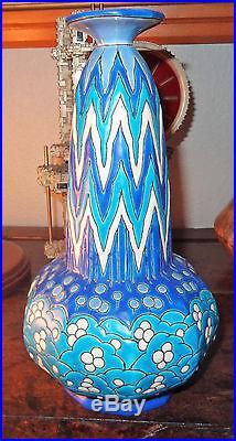 Superbe vase soliflore émaux de Longwy ART DECO bleu très bel état
