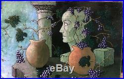 Tableau Huile Jacques Cortellari (1942-2002) Vase Grappe Raisins Nature morte