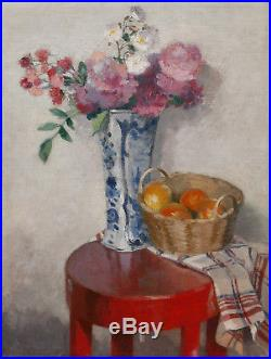 Tableau Nature Morte Vase Delft Fleurs Panier Oranges Torchon Laque Art Deco