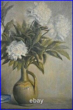 Tableau ancien Huile Nature Morte aux fleurs dans un vase époque Art Déco