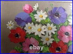 Tableau ancien Primo DOLZAN XXe Italie Fleurs Vase Art Déco Huile toile signée
