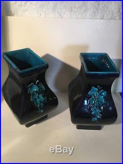 Théodore DECK Rare paire de vases en céramique ART-DÉCO bicolore et relief