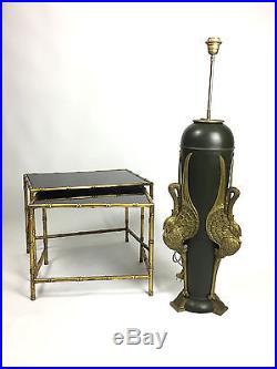 Tres Grand Vase De 1 Metre De Haut Monté En Lampe Signé Fleurey En Bronze