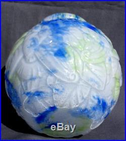 Très Joli vase boule art-deco DELATTE aux cerises, moulé, era Daum Galle Muller