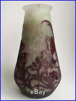 Très Rare Muller Freres vase verre Art Nouveau Deco Jugendstil epoque Daum Gallé