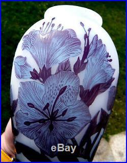 Très beau vase Delatte ibiscus, parfait, era daum galle 1900, NO COPY